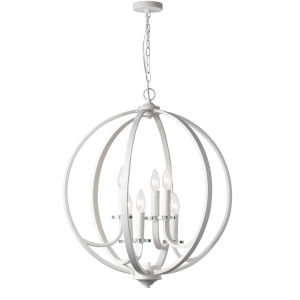 Cosmopolitan Matte White with Clear 24-Inch Six-Light Chandelier