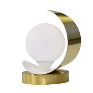 Crescent Aged Brass with Matte White One-Light Table Lamp
