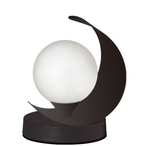 Crescent Matte Black with White One-Light Table Lamp