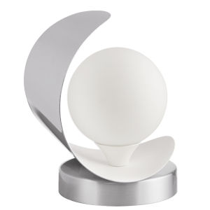 Crescent Satin Chrome with Matte White One-Light Table Lamp