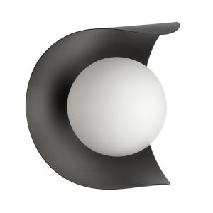 Crescent Matte Black with White One-Light Wall Sconce