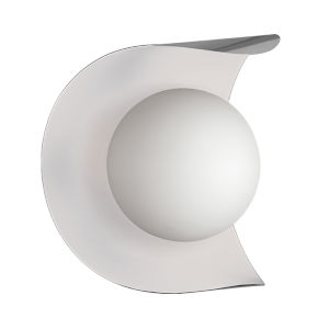 Crescent Satin Chrome with Matte White One-Light Wall Sconce