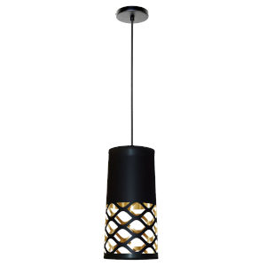 Cutouts Black with Gold One-Light Mini Pendant