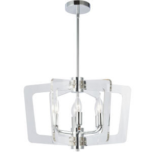 Clearwater Polished Chrome with Clear 20-Inch Six-Light Chandelier