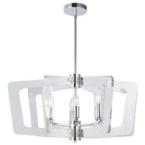 Clearwater Polished Chrome with Clear 27-Inch Six-Light Chandelier