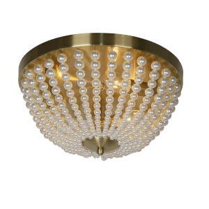 Dawson Pearl White with Aged Brass Three-Light Flush Mount