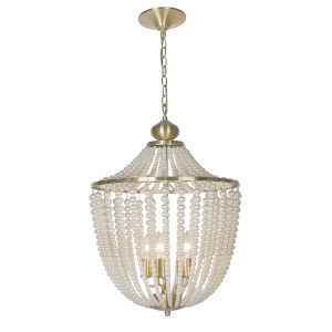 Dawson Pearl White with Aged Brass Five-Light Chandelier