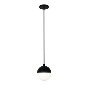 Dayana Matte Black with White One-Light Mini Pendant