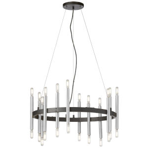 Derry Matte Black and Polished Chrome 24-Light Wagon Wheel Chandelier