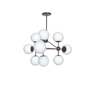 Domi Black with White Nine-Light Chandelier