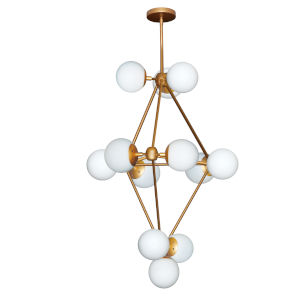 Domi Gold with Frosted White 12-Light Chandelier