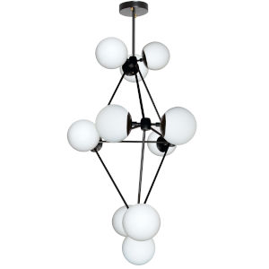 Domi Black with White 12-Light Chandelier