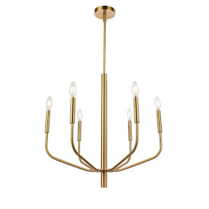 Eleanor Aged Brass Six-Light Chandelier