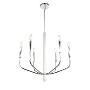 Eleanor Polished Chrome Six-Light Chandelier