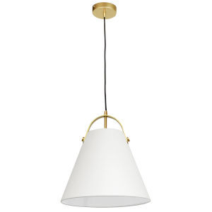 Emperor Aged Brass One-Light Pendant with Off White Shade