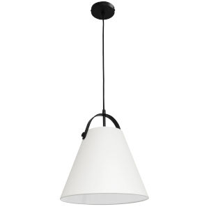 Emperor Matte Black One-Light Pendant with Off White Shade