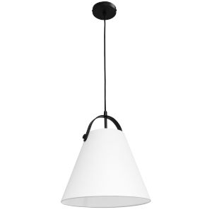 Emperor Matte Black One-Light Pendant with White Shade