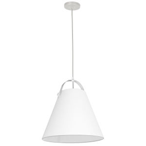 Emperor Matte White One-Light Pendant with White Shade