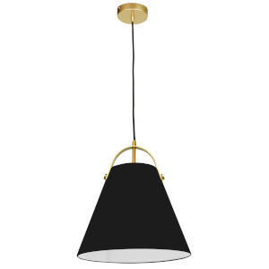 Emperor Aged Brass One-Light Pendant with Black Shade