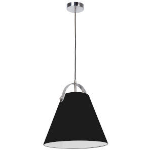 Emperor Polished Chrome One-Light Pendant with Black Shade