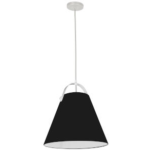 Emperor Matte White One-Light Pendant with Black Shade