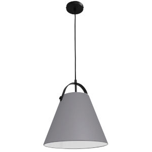 Emperor Matte Black One-Light Pendant with Gray Shade