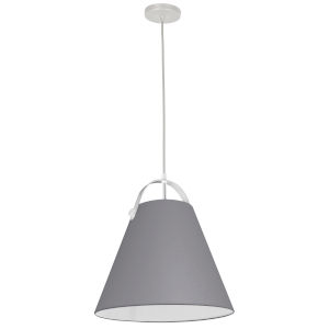 Emperor Matte White One-Light Pendant with Gray Shade