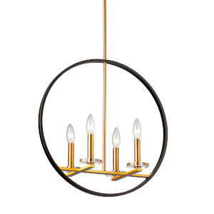 Fiorella Black with Vintage Bronze Four-Light Chandelier
