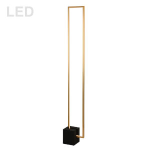 Florence Aged Brass with Black LED Floor Lamp