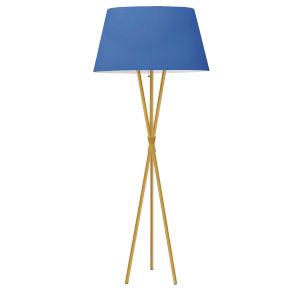Gabriela Aged Brass and Blue One-Light Tripod Floor Lamp