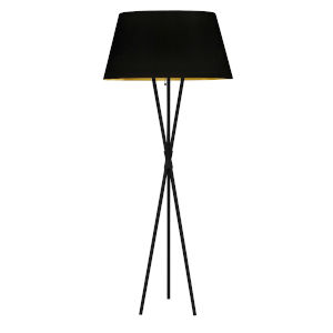 Gabriela Matte Black with Black Gold One-Light Floor Lamp