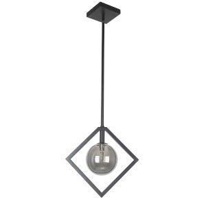Glasgow Matte Black with Smoke One-Light Pendant