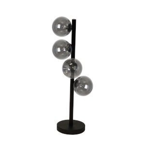 Glasgow Matte Black with Smoke Four-Light Table Lamp