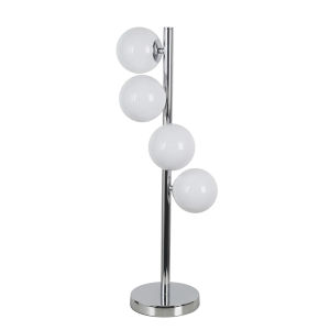 Glasgow Polished Chrome with White Four-Light Table Lamp