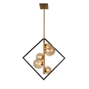 Glasglow Matte Black with Vintage Bronze Five-Light Pendant