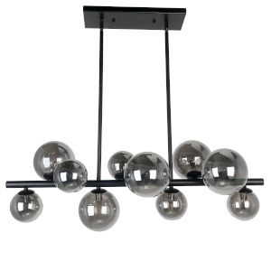 Glasgow Matte Black with Smoke 10-Light Pendant