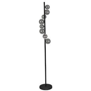 Glasgow Matte Black with Smoke Eight-Light Floor Lamp