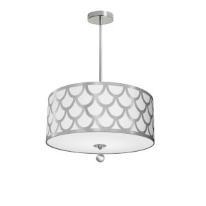 Hannah White with Polished Chrome 19-Inch Four-Light Pendant