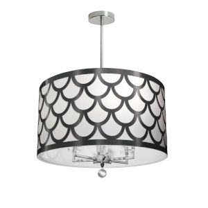 Hannah Black with Polished Chrome Six-Light Chandelier