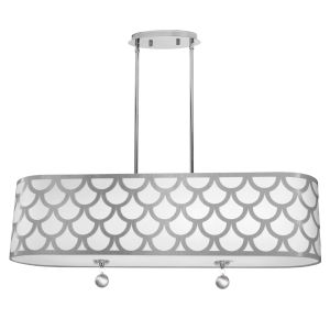 Hannah White with Polished Chrome 35-Inch Four-Light Pendant