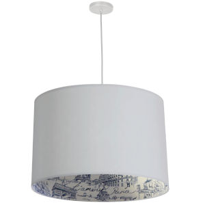 Kate Matte White Three-Light Pendant with Amour Shade