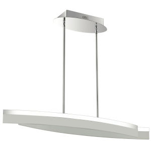 Kepler Polished Chrome with White Two-Light LED Pendant