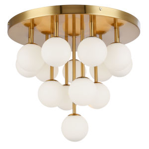Megallan Aged Brass with Opal White 14-Light Flush Mount