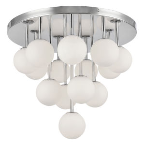 Megallan Polished Chrome with Opal White 14-Light Flush Mount