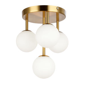 Megallan Aged Brass with Opal White Four-Light Flush Mount