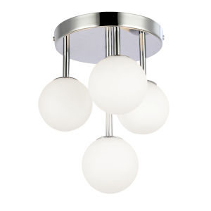 Megallan Polished Chrome with Opal White Four-Light Flush Mount