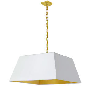 Milano Aged Brass and White 26-Inch One-Light Large Pendant