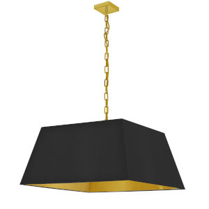 Milano Aged Brass and Black One-Light Large Pendant