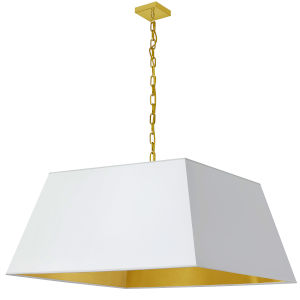 Milano Aged Brass and White One-Light XL Pendant