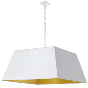 Milano White and Aged Brass One-Light XL Pendant